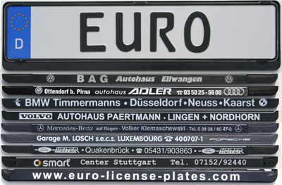 mounting frames & euro license plates | used and custom made European license plates